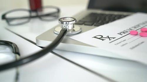 Stethoscope And Rx Prescription
