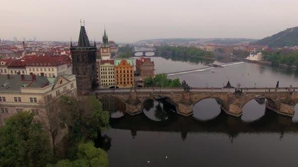 Thumbnail for Aerial View Along Vltava River in the Summer. Prague, Czech Republic