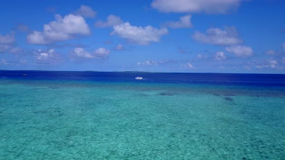 Thumbnail for Wide drone clean view of a paradise sunny white sand beach and turquoise sea background in colorful