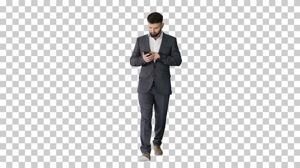 Thumbnail for Businessman walking and using the phone, Alpha Channel