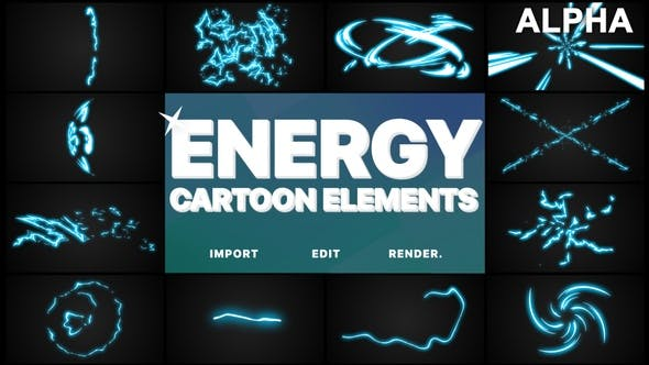Thumbnail for Cartoon Energy Elements | Motion Graphics Pack
