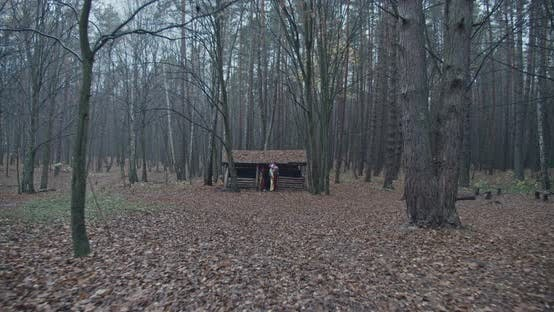 Two Scary Clowns Come Out Of An Old House In The Woods