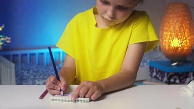 Schoolgirl Blonde Painting at Home