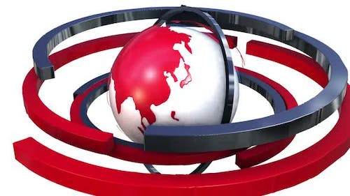 A screensaver for the news program. Animation of the planet earth and red circle around