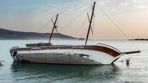 Thumbnail for Yacht Aground, Sailboat Semi-Sunk, Stricken Ship