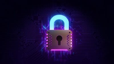 Creative Data Security Concept with Lock