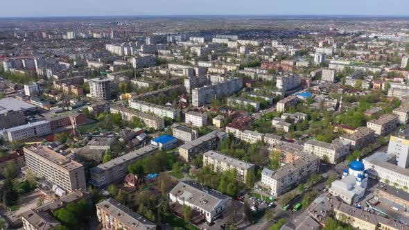 4k Aerial View Of The Houses Of The City Of Zhytomyr