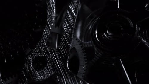 Black and White Close View of Watch Mechanism