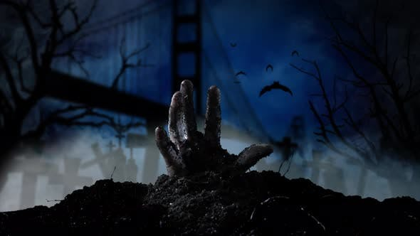 Thumbnail for In the San Francisco Cemetery, a Hand Emerges From the GraveSmoky Background
