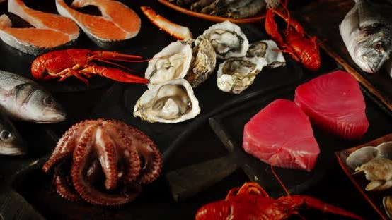 Thumbnail for The Range of Different Types of Seafood Rotates on Table.