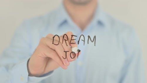 Dream Job, Man Writing on Transparent Screen