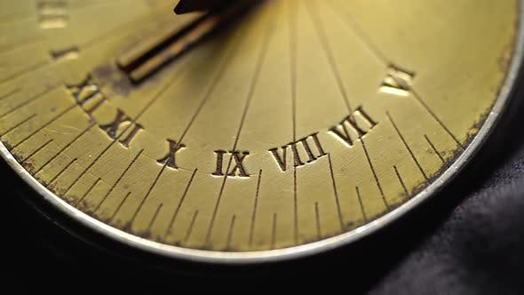 Thumbnail for Solar Vintage Clock Rotate. Black Background. Close Up