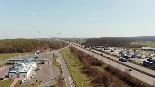 Fly Across Busy Multilane Highway Autobahn in Germany