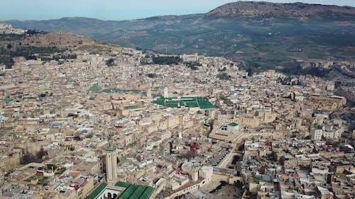 Luftaufnahme der alten Medina in Fes, Marokko