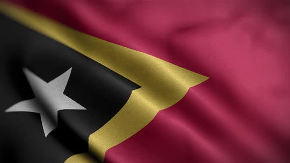 Thumbnail for East Timor Flag Textured Waving Close Up Background HD