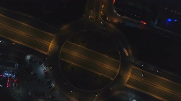 Thumbnail for Roundabout Road with Night Traffic in City at Night. Night, Top View of Sofia, Bulgaria