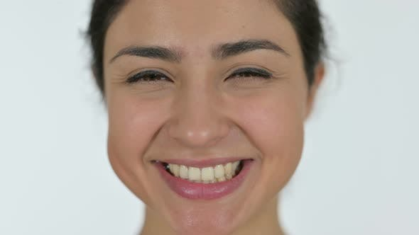Thumbnail for Close Up of Laughing Indian Woman, White Background