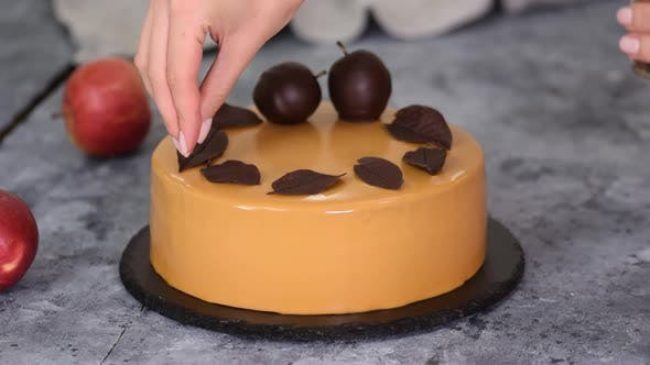 Thumbnail for Pastry Chef Decorating Mousse Cake Small Chocolate Pieces