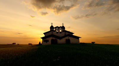 Historic Old Church and Sunset View