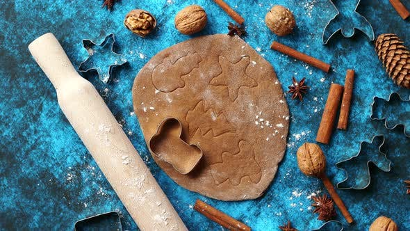 Thumbnail for Christmas Baking Concept Gingerbread Dough with Different Cutter Shapes