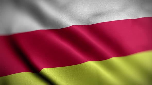 North Ossetia Flag Textured Waving Close Up Background HD