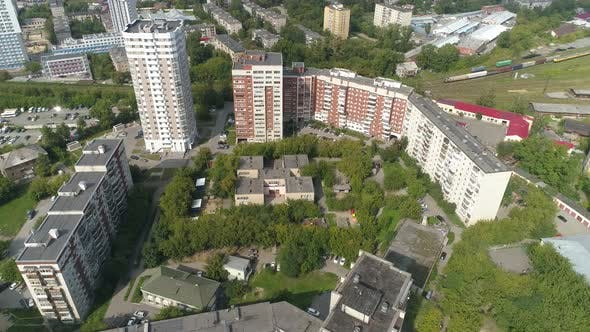 Aerial view of preschool building in big city 04