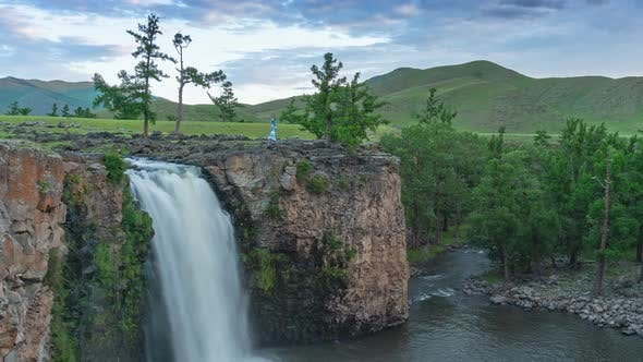 Orkhon Waterfall in Mongolia at Sunrise