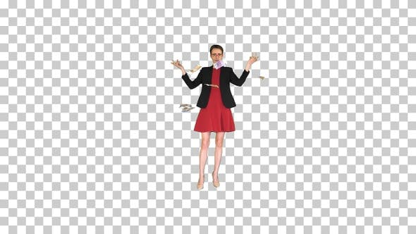Thumbnail for Business woman in red dress throwing money, Alpha Channel