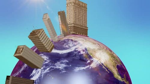 On the planet the earth grows skyscrapers. Animation of planet earth with big houses