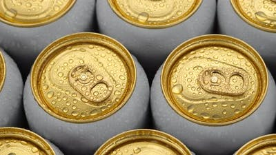 cold aluminum cans close up. Many cans of beer or other drinks. Sliding shot. 4K UHD video