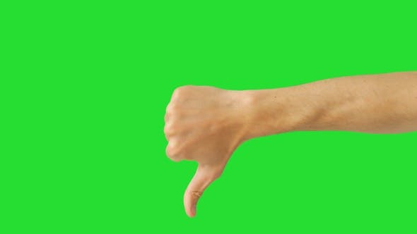 Isolated Man Hand Showing Thumbs Down, No-like, Dislike or Negative Sign Symbol. Green Screen