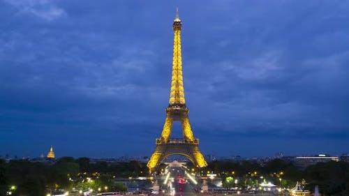 Eiffel tower during sunset timelapse, Paris, France.