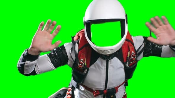 Skydiver in Mid Air Giving Thumb Up Template