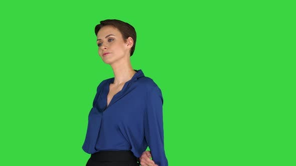 Beautiful Young Woman Thinking, Day Dreaming on a Green Screen, Chroma Key.