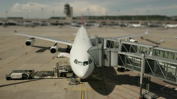 Thumbnail for Commercial Airline Airplane Standing at Airport Terminal Gate