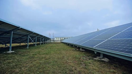 Electricity production from the sun. Solar power plant to innovation of green energy for life