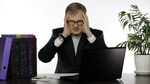 Thumbnail for Businessman Working in Office. Shocked Executive Finds Failure Mistake in Work