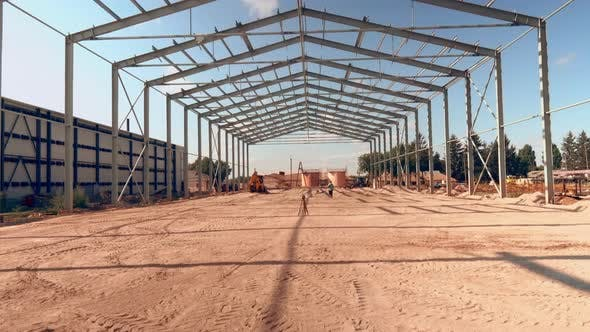 Construction of a Large Hangar, Steel Frame of the Building