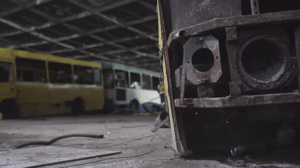 Abandoned Crashed Bus at the Junkyard