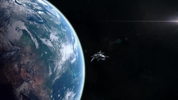 Cover Image for Futuristic Spaceship Leaving Planet Earth Orbit