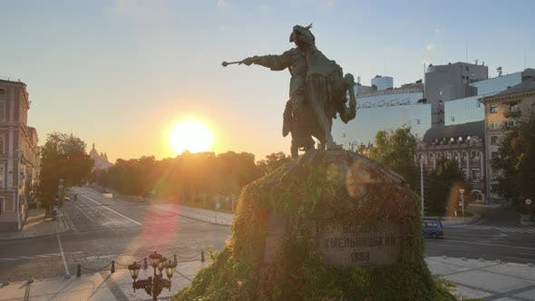 Thumbnail for Kyiv, Ukraine: Monument To Bogdan Khmelnitsky in the Morning at Dawn. Aerial View