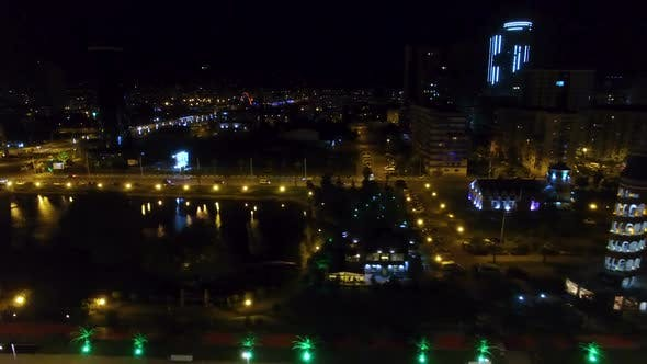 Thumbnail for Seafront area of Batumi Georgia night, Black Sea resort cityscape, destination