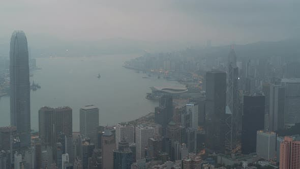 Thumbnail for Hong Kong, China, Timelapse  - Sunrise of the city as seen from the Downtown Hill (Close Up)