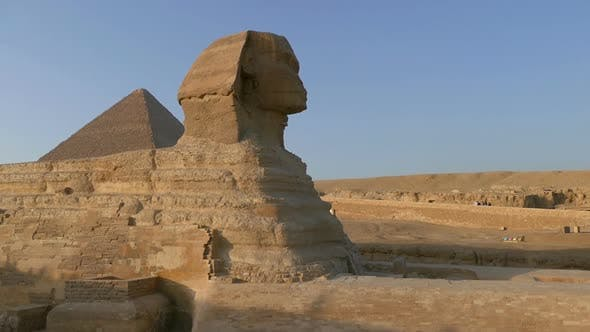 Famous Ancient Sphinx and Cheops Pyramid in Giza Cairo Egypt