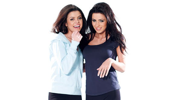 Thumbnail for Two Brunette Girls Posing in Casual Clothes
