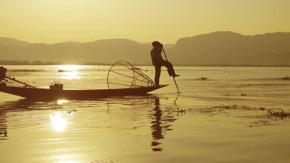 Thumbnail for Fishermen with Fishing Net at Inle Lake in Myanmar