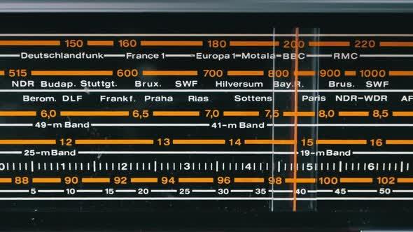 Thumbnail for Tuning Analog Skala des Retro-Radios mit den Namen von Städten, Radiosendern und Frequenz