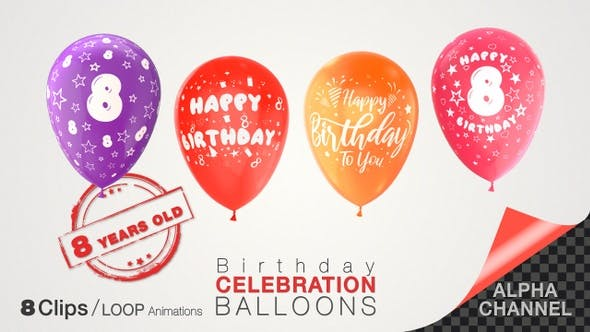 Thumbnail for 8th Birthday Celebration Balloons / Eight Years Old