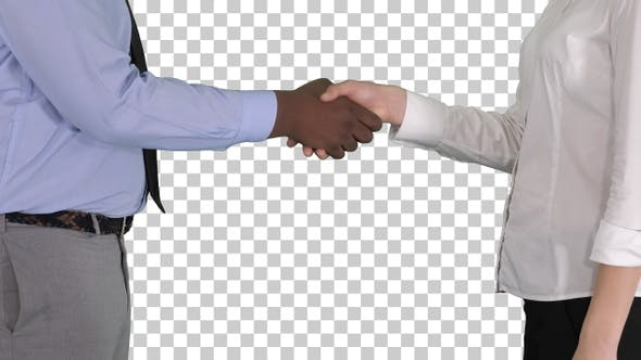 Thumbnail for Hands of businessman and businesswoman handshaking, Alpha Channel
