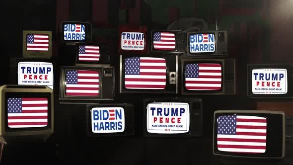 Biden vs Trump, United States Presidential Election, on Retro TVs.